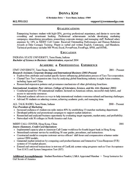 Exle Resume For Entry Level by Entry Level Resume Sle Entry Level Resume