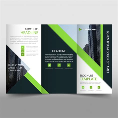 trifold poster template free publisher modern green and black trifold business brochure template