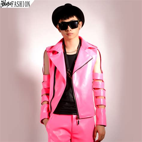 Super hot pink sleeve cutout motorcycle leather jacket fashion menu0026#39;s clothing costume-in Jackets ...