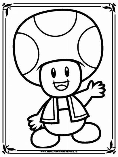 Mario Coloring Coloriage Jamur Toad Gambar Imprimer