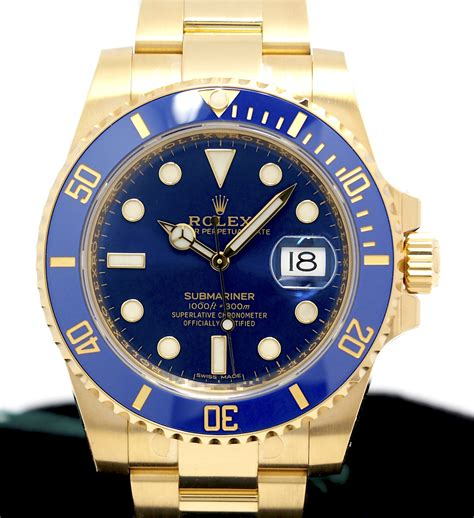 Rolex Submariner Ref 116618LB 18K Yellow Gold Blue Dial ...