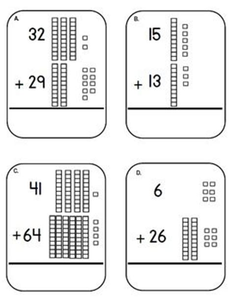 place  base ten block  cubes addition task cards