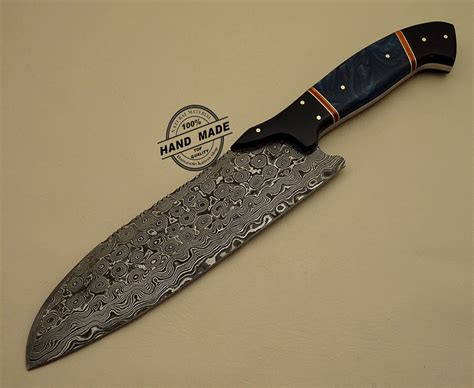 knife damascus kitchen steel custom handmade chef professional sheaths leather 1201 handle wood knives chefs cart damascusknivesshop 1202 olive