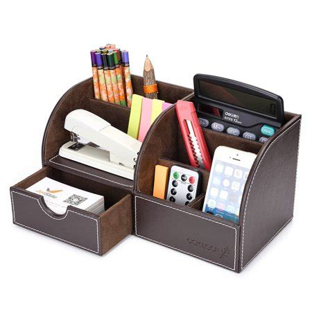 Oak Leaf 6 Compartment Leather Desk Organizer Office