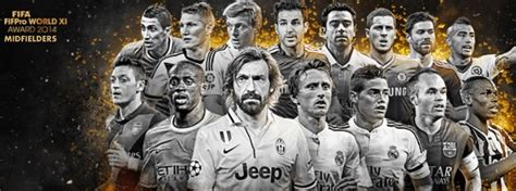 fifpro world xi 2014 fifteen midfielders names revealed by fifa footballwood