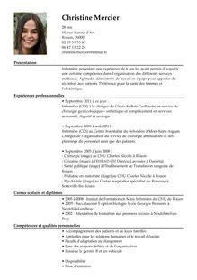 Les Type De Cv by Cv Gratuit Infirmier