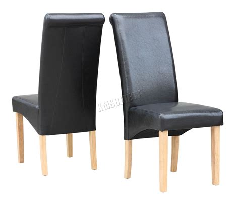 new black faux leather dining chairs roll top scroll high