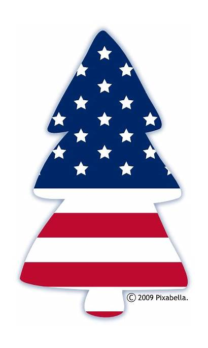 Christmas Clip Patriotic Clipart Flag American Tree