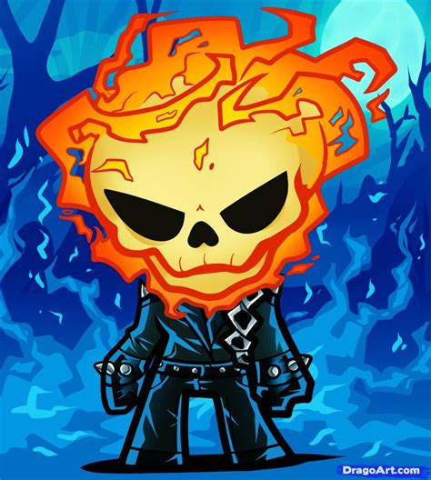 How To Draw Chibi Ghost Rider Step By Step Chibis Draw