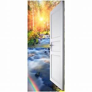 Sticker porte ouverte ruisseau dans les bois 204 x 83 cm Stickers Nature Arbres Ambiance sticker