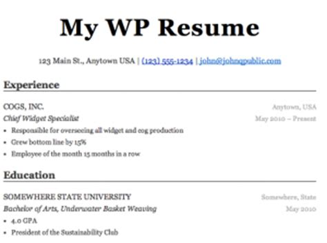 What Else To Add On A Resume by Resume Plugin Ben Balter