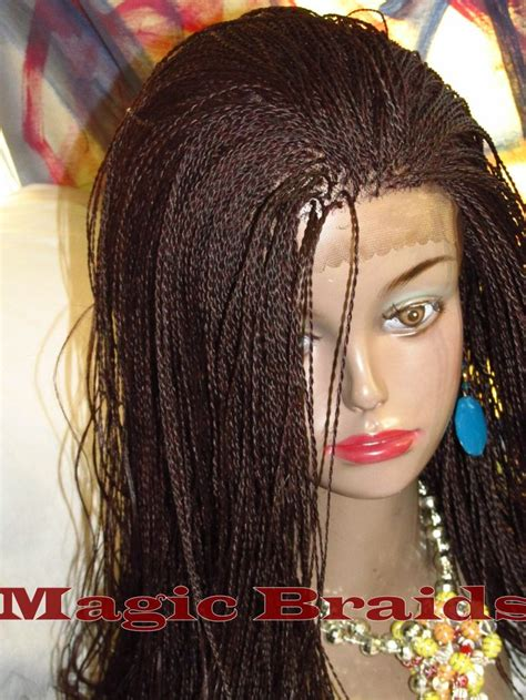 Fully Braided LACE Front WIG Micro twist Color #99j SALINE