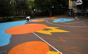 Basketball Court Gets Hooptown Mural