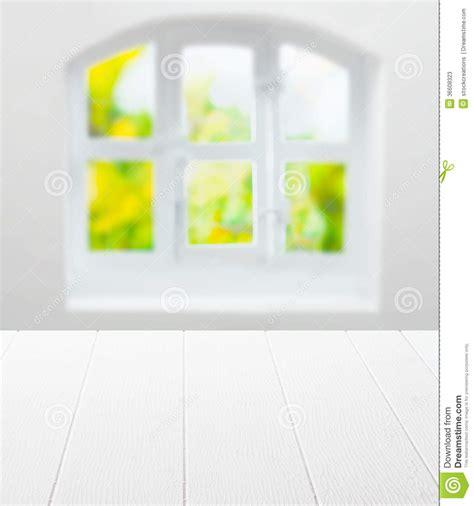 empty clean white kitchen table  window stock image