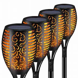 As Seen On Tv Outdoor Security Light 4pc Solar 51 Led Waterproof Flickering Flames Tiki Torches