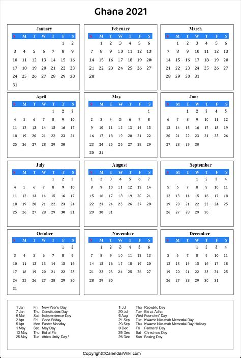 International holidays are meant to facilitate the observance of important past events, raise awareness of an issue or appreciate the great value of an idea or input of people to the world or sections of the human. Printable Ghana Calendar 2021 with Holidays Public Holidays