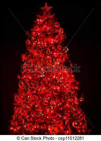 red lights christmas tree tree with light and black background