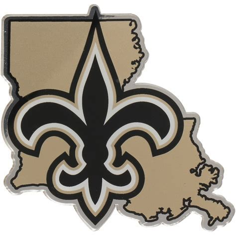 New Orleans Saints State Shape Acrylic Metallic Auto Emblem