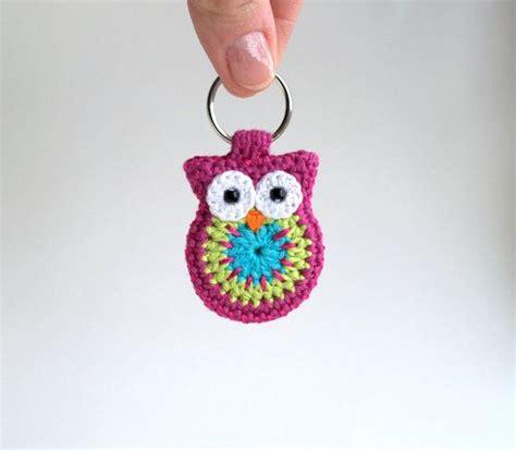 Crochet Owl Keychain Owl Keyring Pink Crochet Owl Key