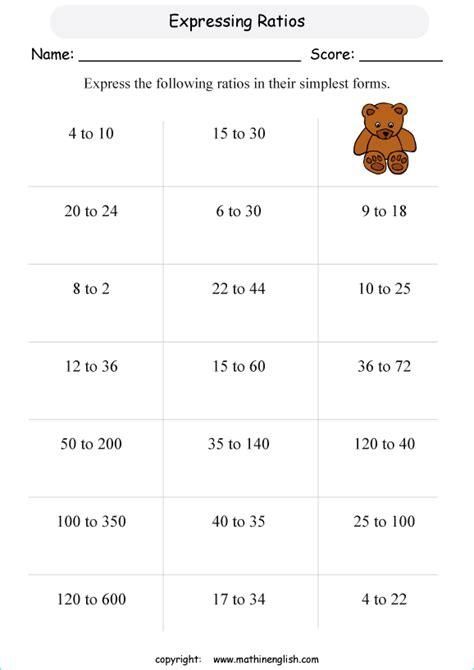 express  ratio printable grade  math worksheet