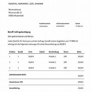 Mahnung Rechnung : auftragsbest tigung f r freiberufler vorlage muster ~ Themetempest.com Abrechnung