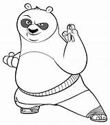 Panda Coloring Pages Fu Kung Drawing Colour sketch template