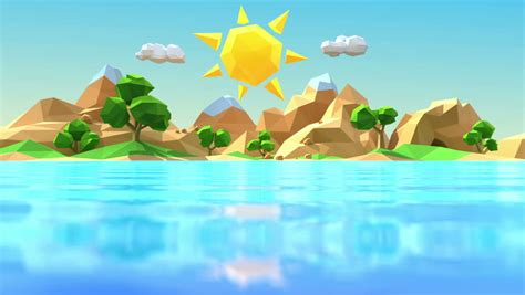Stock Video Of Low Polygonal Cartoon Island