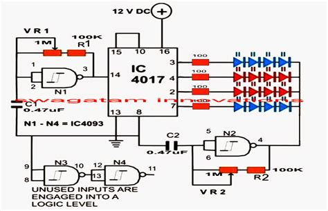 Led Strobe Light Circuit With Chasing Flashing Effects