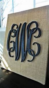 1000 images about burlap canvas on pinterest burlap With black wooden monogram letters