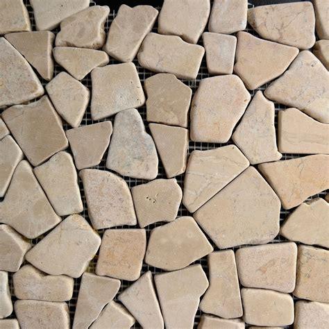 yellow flat pebble mosaic tile