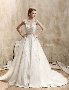 ball gown v neck court train re embroidered lace wedding With lace wedding dress with train