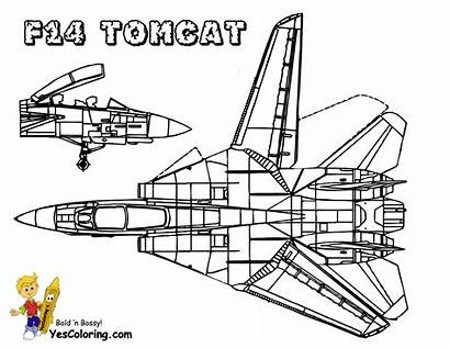 Airplane Pages Coloring F14 Tomcat Military Yescoloring