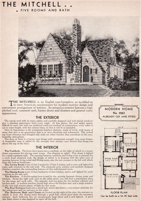 sears mitchell kit house english cottage style  century american residential