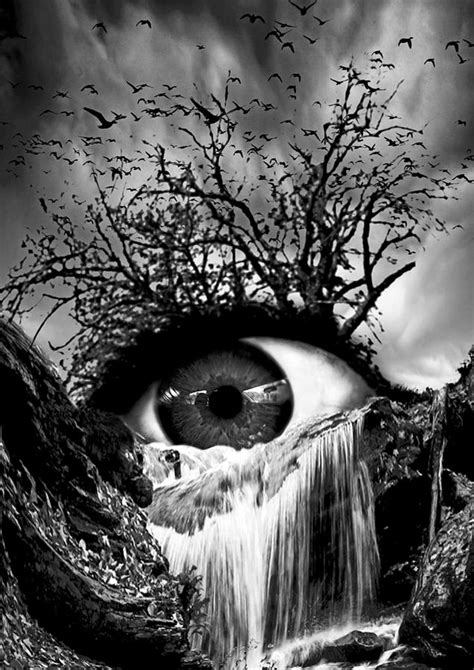 cascade crying eye grayscale digital art  marian voicu
