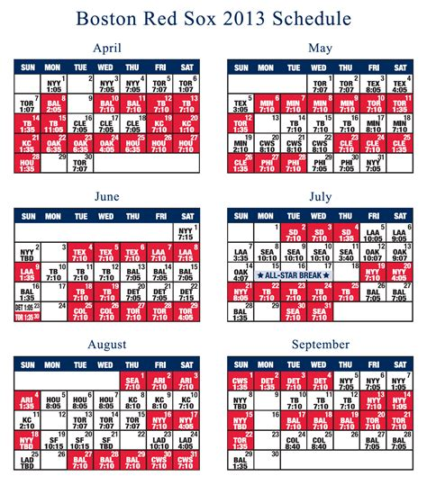 Printable Red Sox Schedule 2019 Printable Party