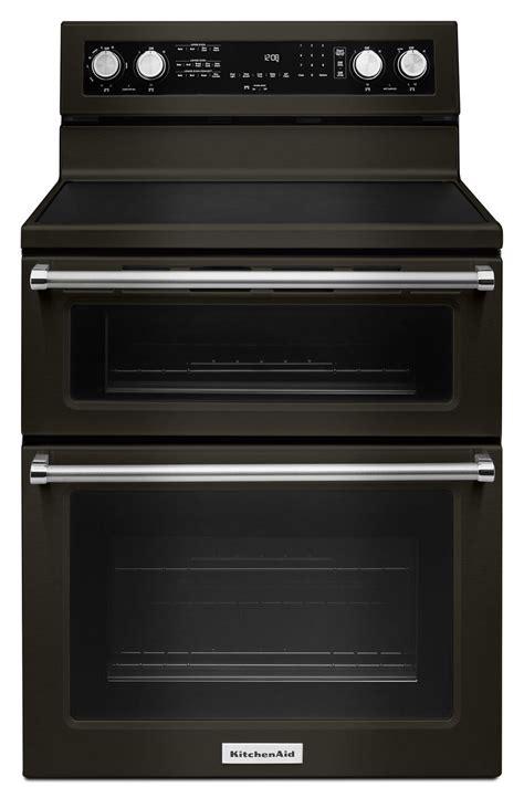 kitchenaid black stainless electric range kfedebs