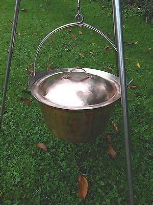 hand  copper cauldron picnic kettle campfire pot  liter  gall wood iron copper craft