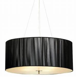 Black silk round pendant light lighting dwell