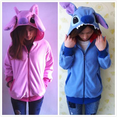 Anime Couple Hoodies Fleece Cartoon Anime Animal Pink Blue Stitch Women Men