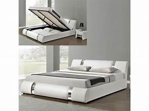 Lit Coffre 180x200 : lit coffre sommier relevable nova blanc tailles ~ Melissatoandfro.com Idées de Décoration