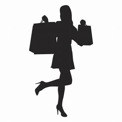 Shopping Silhouette Woman Bags Happy Transparent Svg