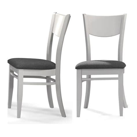 Chaise Maya Blanc Et Tissu Gris Lot De 2