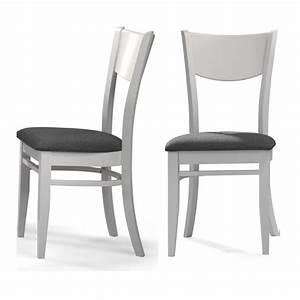 Chaise Grise Pas Cher : chaise maya blanc et tissu gris lot de 2 chaise topkoo ~ Teatrodelosmanantiales.com Idées de Décoration