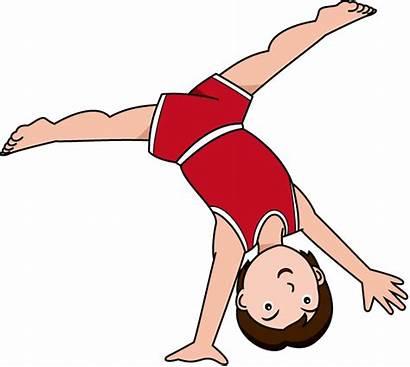 Gymnastics Cartwheel Clipart Cartoon Tumbling Clip Gymnast