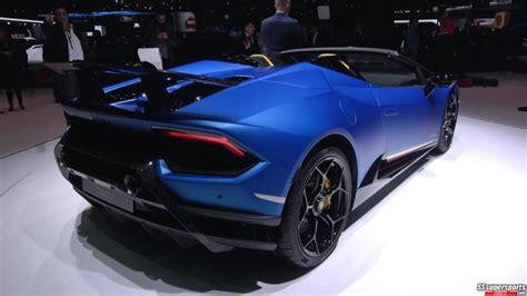 2 Blue Lamborghini Huracan Performante Spyder At Geneva