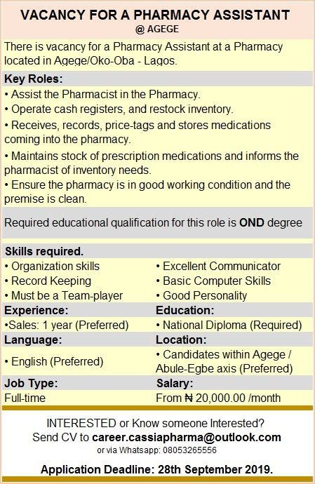 Pharmacy Vacancy by Vacancy For A Pharmacy Assistant Agege Vacancies