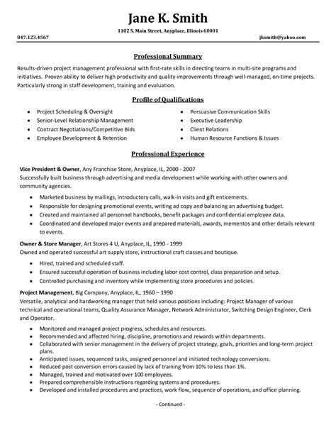 Pmo Resume Sle by Functional Resume Sle Project Management 28 Images