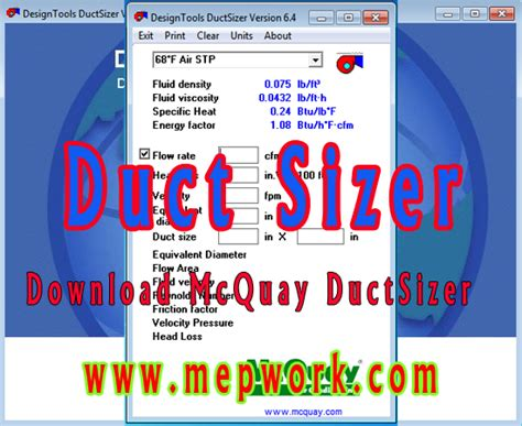 mcquay duct sizer  hvac duct sizing