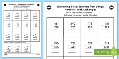 subtracting  digit numbers   digit number worksheet