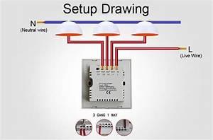 3 Gang 1 Way Home Automation Switch Uk Standard 110v